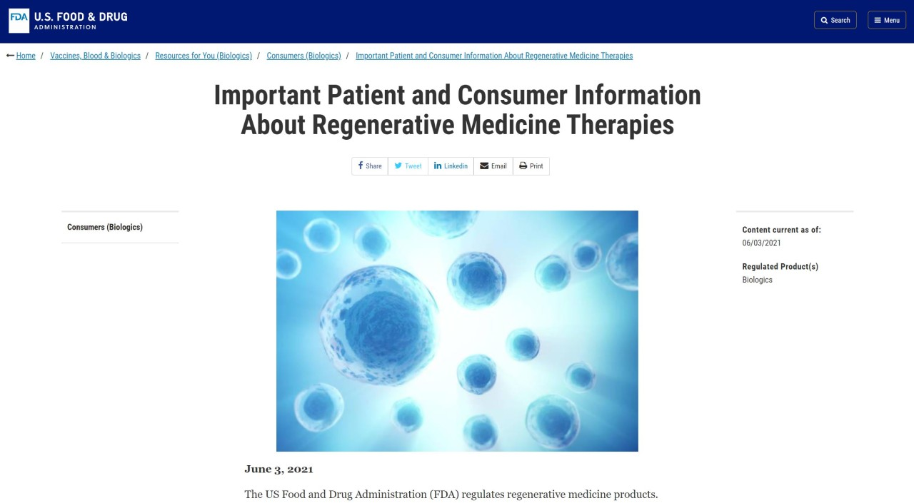 FDA Notice Bans The Commercial Use of Stem Cell Therapies – Now What?